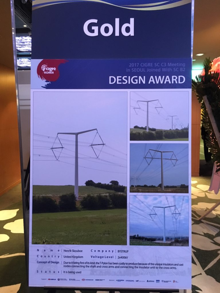 Cigré pylon award 2017 gold T-pylon