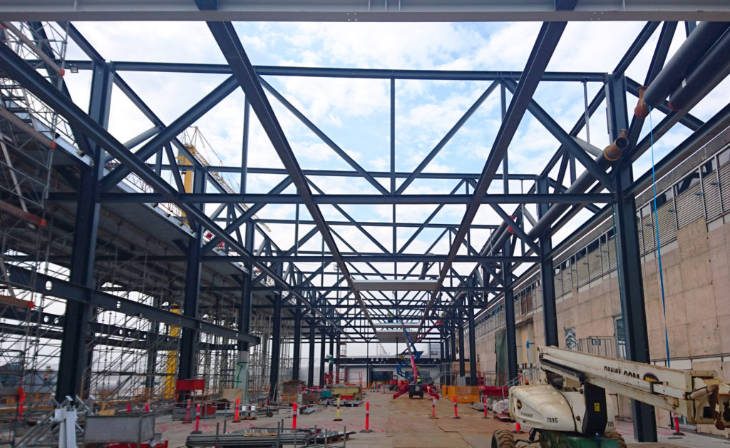 Steel beem structure erected at the construction site of Terminal 2
