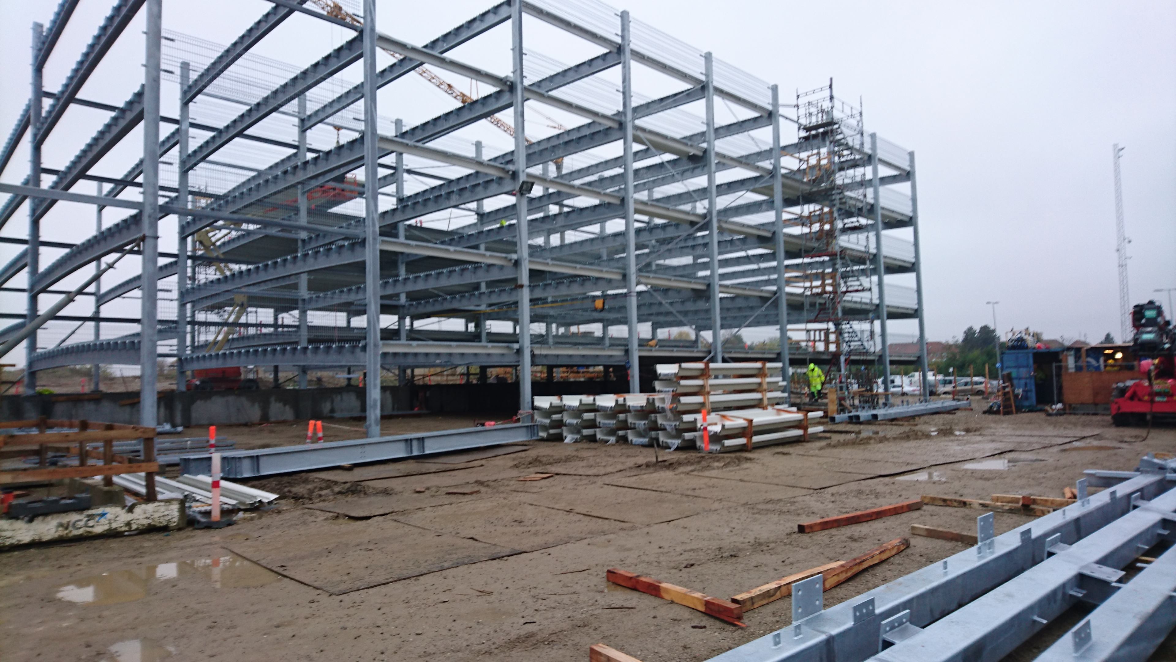 Construction site of the parking house - the rough steel framework erected