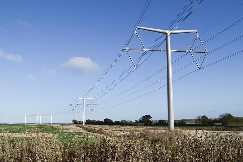 T-pylon højspændingsmast infrastruktur